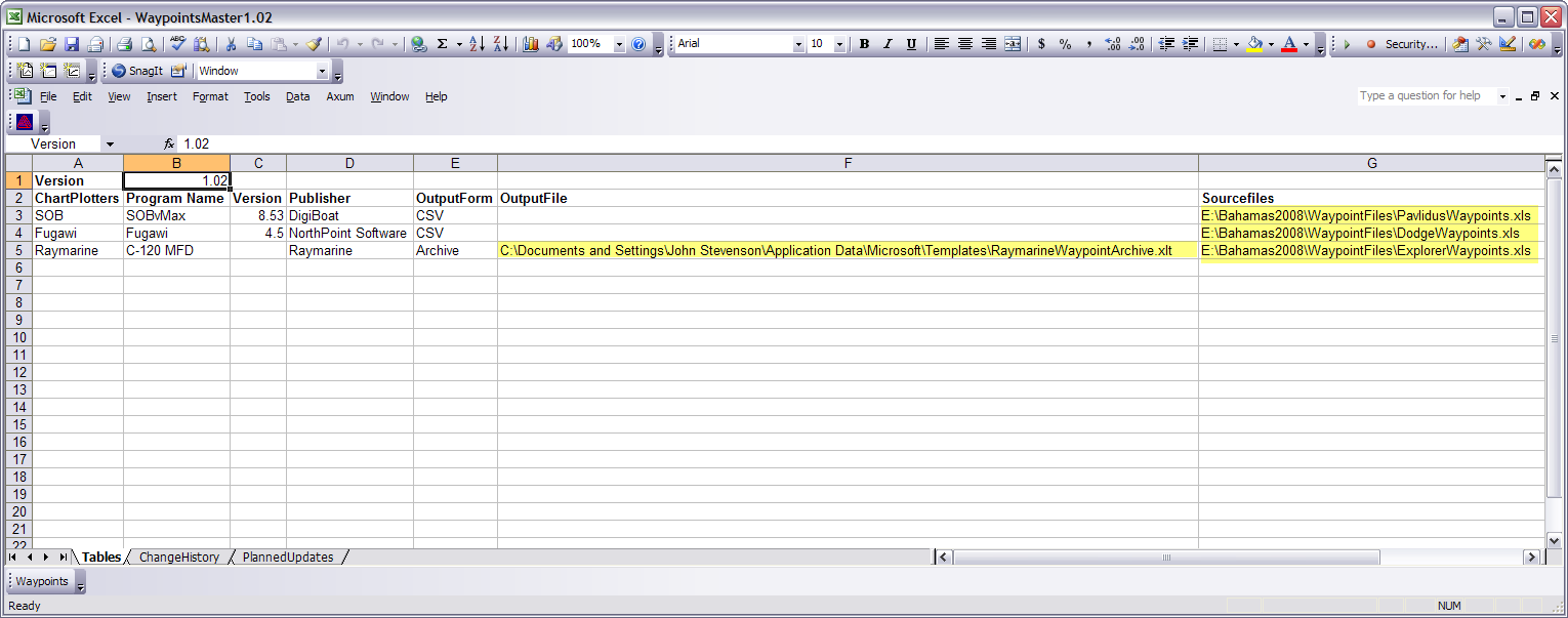 Waypoint Management with Excel